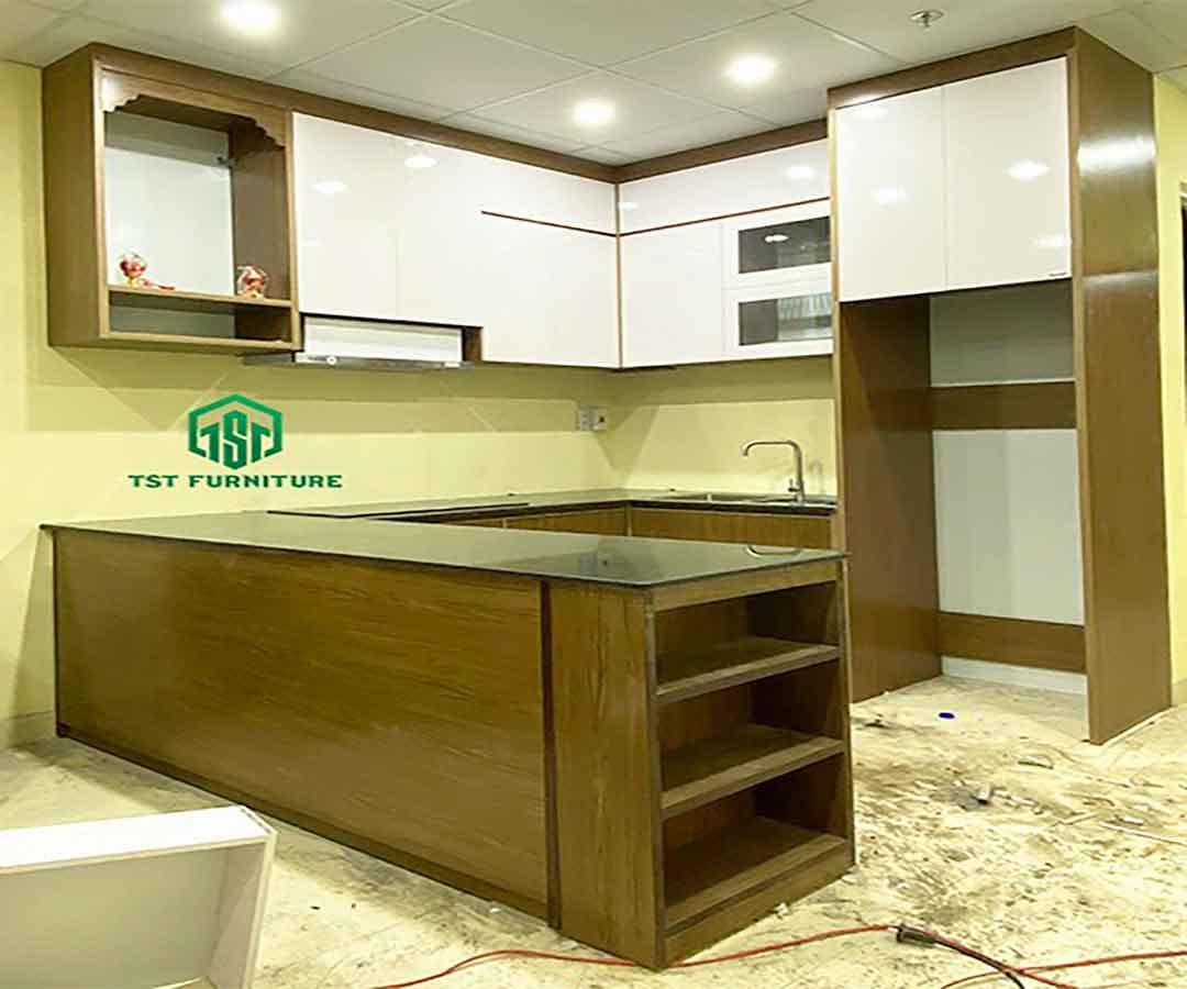 Kiểu Tủ bếp nhựa Đài Loan chữ U đẹp-Nội Thất TST