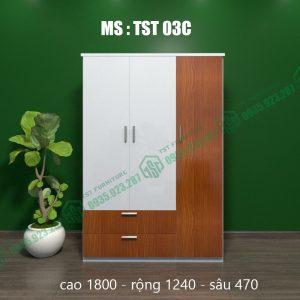 Tủ quần áo nhựa 3 cánh TST03C