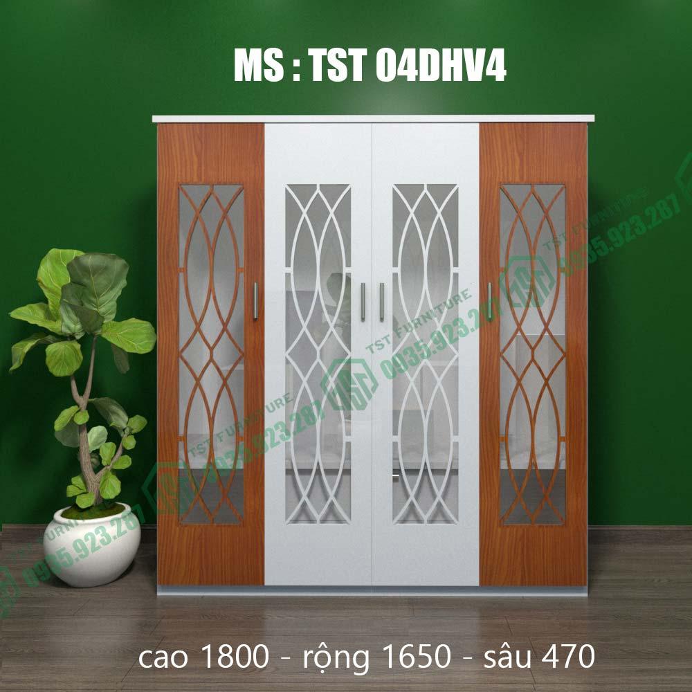 Tủ quần áo nhựa Đài Loan 4 cánh TST04DHV4-4