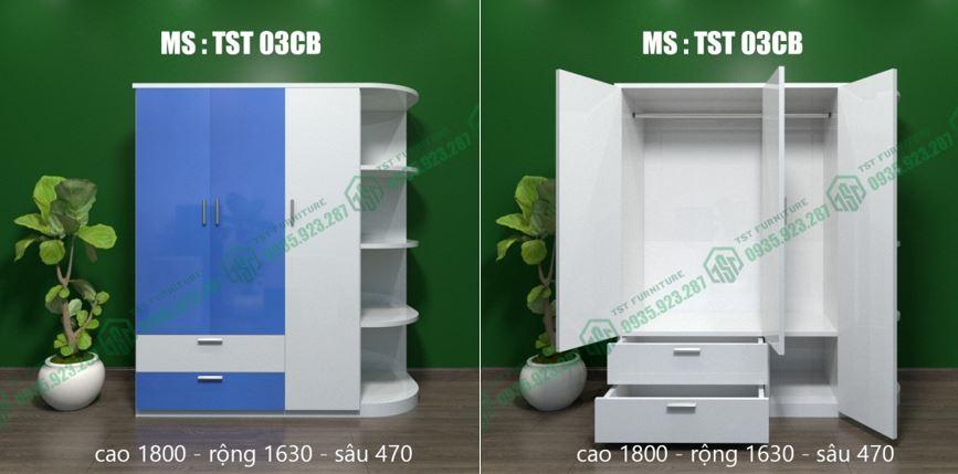 Mẫu tủ nhựa 3 cánh TST 03CB tại Đà Nẵng