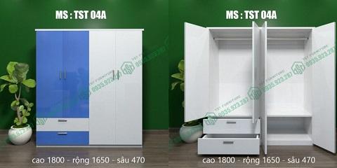 Mẫu tủ quần áo người lớn 4 cánh TST 04A tại Đà Nẵng