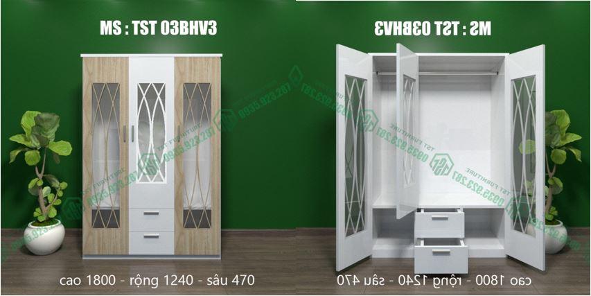 Mẫu tủ quần áo nhựa 3 cánh chạy CNC thẩm mĩ tại Đà Nẵng