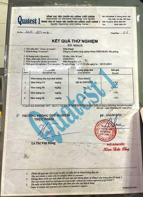 bảng kiểm định chất lượng nhựa Đài Loan bên TST sản xuất