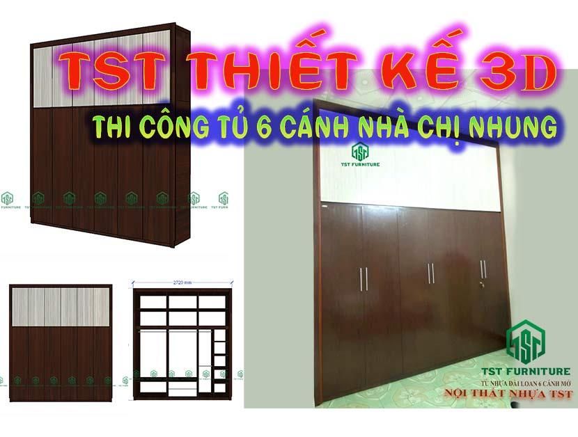 Thiết Kế & Thi Công Tủ Nhựa Đài Loan 6 Cánh Theo Yêu Cầu Tại Đà Nẵng【Nhà Chị Nhung】