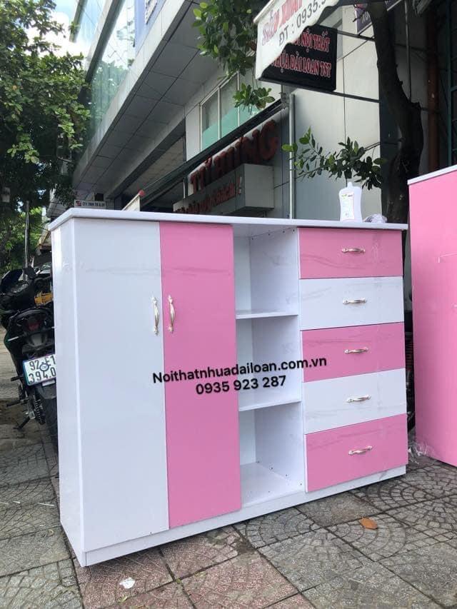 Mẫu tủ áo quần nhựa Đài Loan cho bé gái loại 2 cánh 5 ngăn có kệ