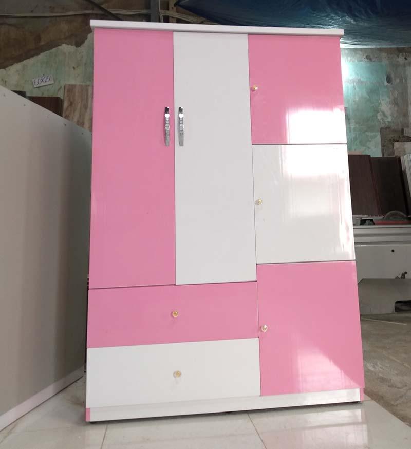 Mẫu tủ đựng quần áo nhựa 2 ngăn 5 cánh nhỏ cho bé gái tại Đà Nẵng