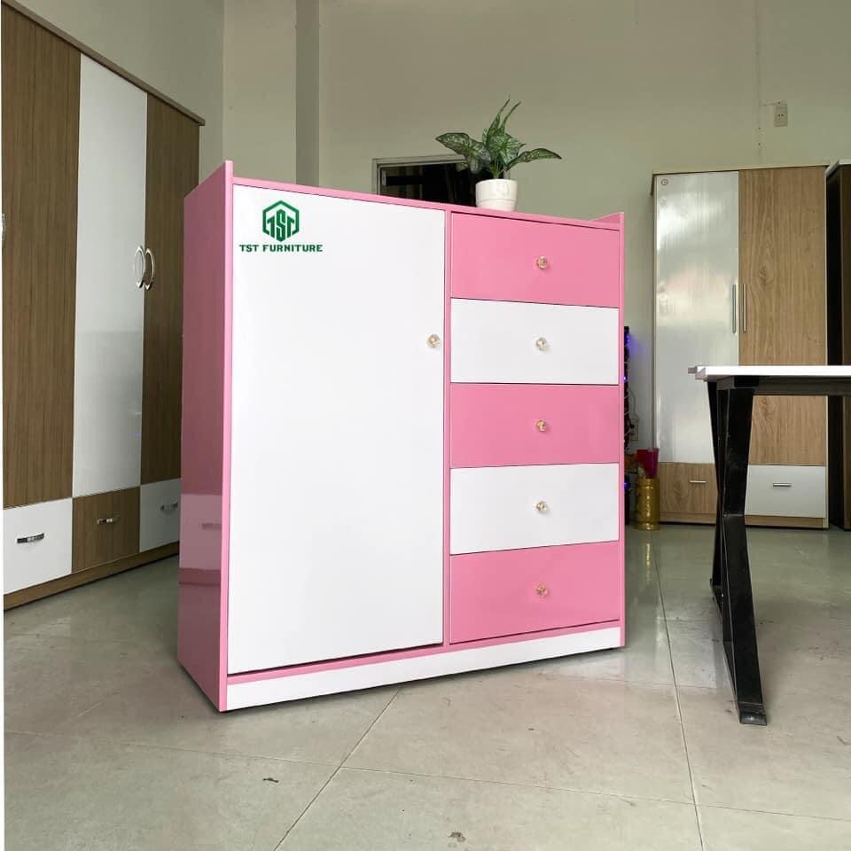 Mẫu tủ nhựa đài loan cho bé gái 1 cánh mở và 5 ngăn kéo