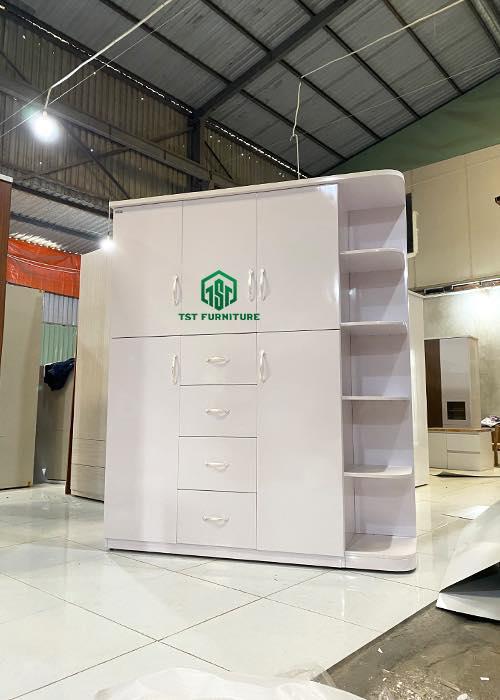 Mẫu tủ quần áo nhựa Đài Loan dành cho bé gái 5 cánh 4 ngăn kết hợp kệ Tại đà nẵng