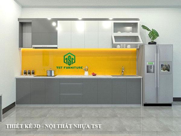 Thiết kế 3D tủ bếp nhựa Đài Loan chữ I theo yêu cầu tại Đà Nẵng