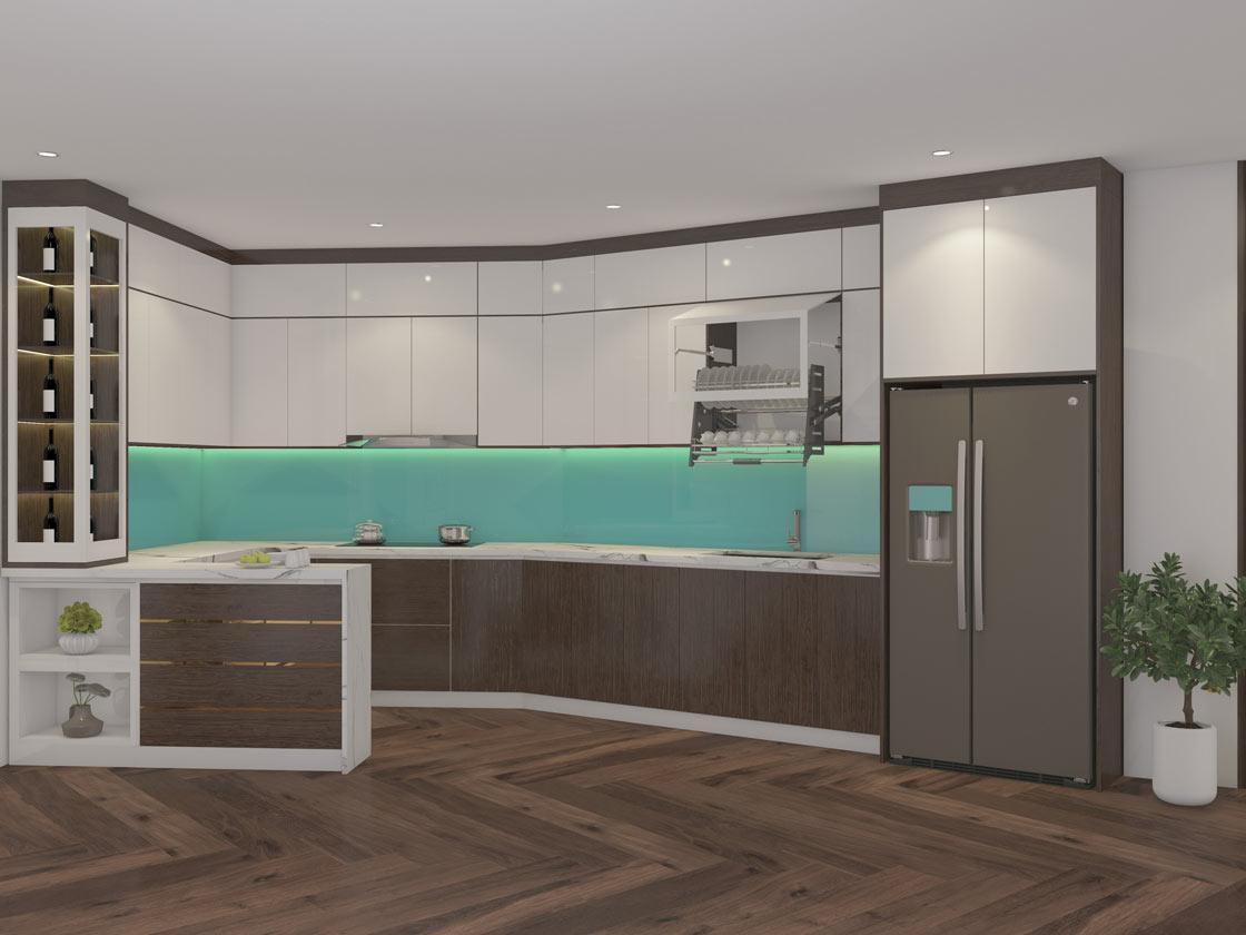 Thiết kế 3D tủ bếp cho khách tại Đà Nẵng