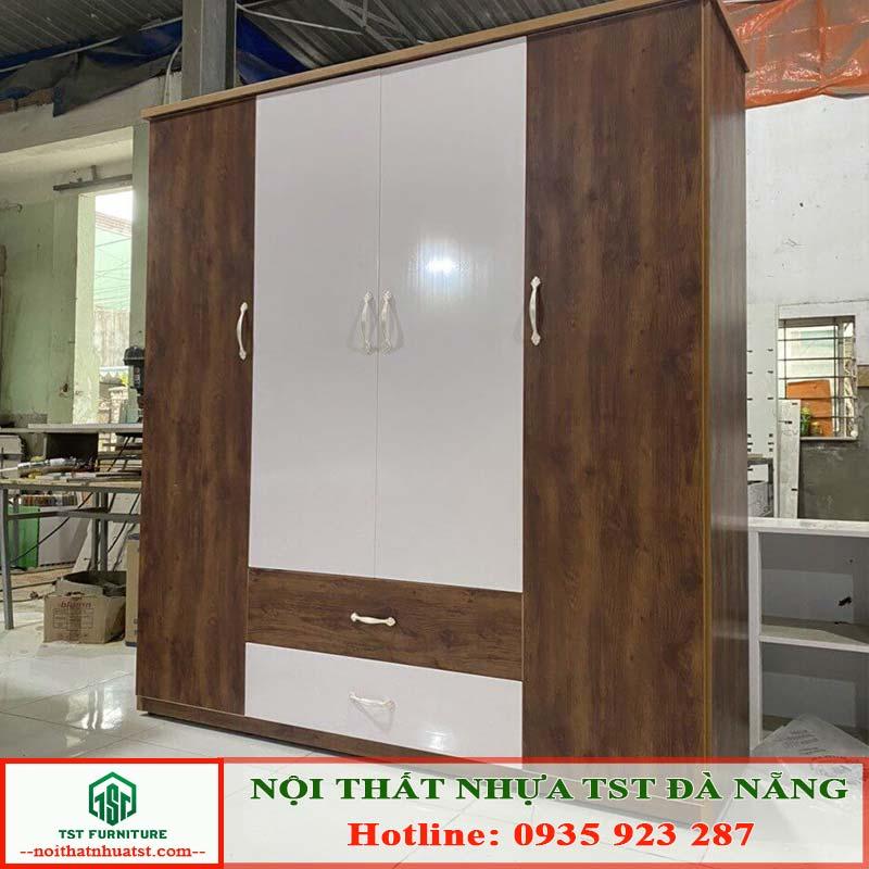 giá tủ nhưa đài loan 4 cánh có 2 ngăn kéo tại Đà Nẵng