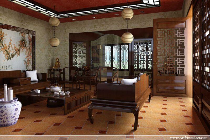 sự quý tộc trong phong cách thiết kế nội thất phòng khách cổ điển châu á
