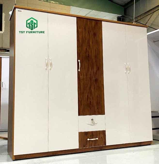 tủ quần áo nhựa Đài Loan 5 cánh mở